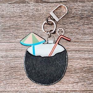 RARE❗️ Tory Burch Coconut Drink Keychain/ Bag Tag
